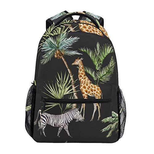 Animals Zebra Giraffe Stand Under Palm Trees Safar Backpack School Bag Travel Daypack Rucksack for Students Boys Girls, Laptop Backpack