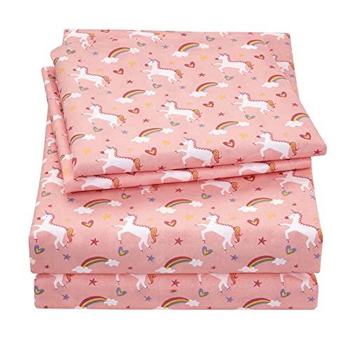 Viviland Unicorn Printed Kids Pink Twin Sheet Set, Super Soft Brushed Microfiber Bed Sheets for Girls, Toddlers
