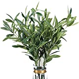 FUNARTY 5pcs Artificial Olive Leaves Long Stems 37' Tall with 270 Leaves Fake Eucalyptus Plant Branches for Floral Arrangement Vase Bouquets Wedding Greenery Decor