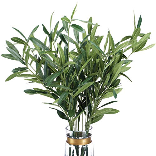 """FUNARTY 5pcs Artificial Olive Leaves Long Stems 37"""" Tall with 270 Leaves Fake Eucalyptus Plant Branches for Floral Arrangement Vase Bouquets Wedding Greenery Decor"""