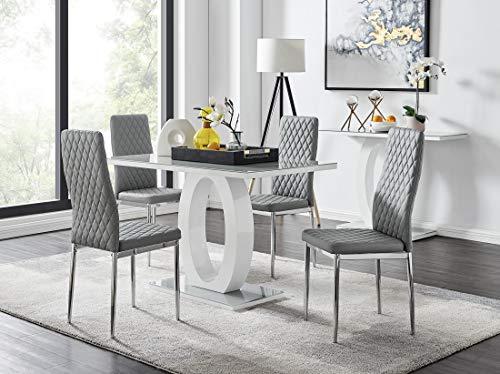 Furniturebox UK Giovani Grey/White Modern Stylish High Gloss Glass Dining Table Set and 4 Contemporary Milan Chairs Set (Dining Table + 4 Milan Grey Chairs)