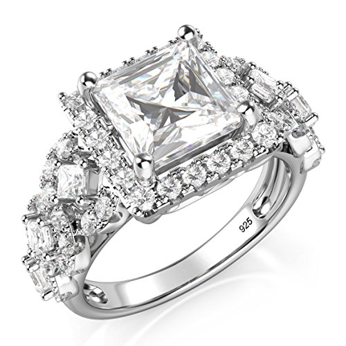 Metal Factory Sz 7 Sterling Silver 925 Princess Cut CZ Cubic Zirconia Halo Engagement Ring