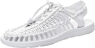 AUCDK Men Flat Sandals Braided Breathable Sandals Pool Beach Shoes Summer Fisherman Sandals Casual Sandals