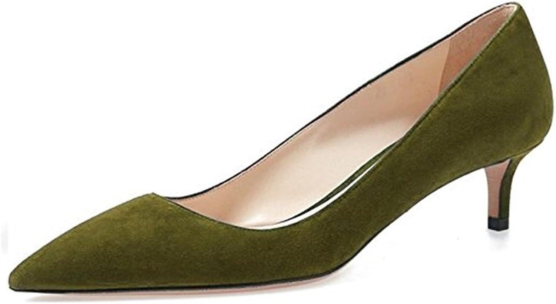 Sammitop Women's Pointed Toe Kitten Heel Pumps Classic Mid-Heel Slip-on Office Dress shoes
