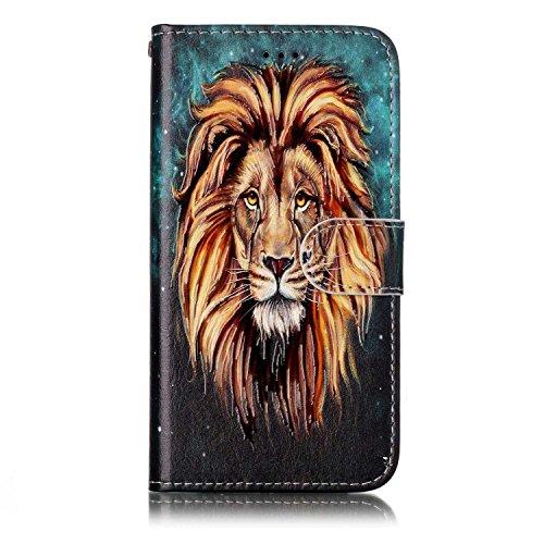 Homikon - Funda de piel sintética para Samsung Galaxy S6 Edge, diseño retro, león