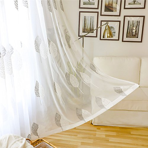 White Rod Pocket Sheer Curtains 96 inches Long Leaves Embroidered Window Curtain Sheer Voile Panels for Living Room & Bedroom, 60x96, Set of 2
