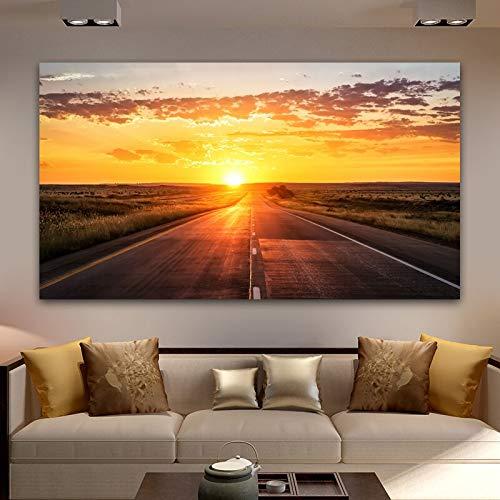 ganlanshu Pintura sin Marco Carretera Carteles e Impresiones Puesta de Sol Paisaje Lienzo Pintura decoración del hogar Arte de la paredZGQ5296 50X90cm