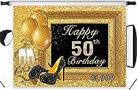 新しいハッピー50歳の誕生日の背景10x7ftファブリックブラックとゴールドのキラキラスパンコールの背景大人のパーティーの写真撮影ポートレート写真ブースの背景洗える
