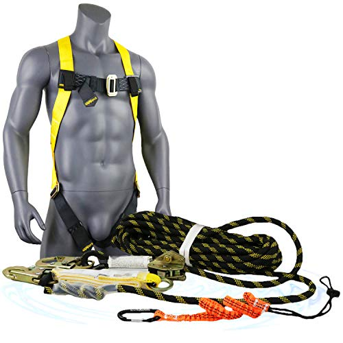 KwikSafety (Charlotte, NC) TSUNAMI COMBO 50 ft. Vertical Lifeline Rope, 1D Safety Harness, Tool Lanyard, Roof Anchor External Shock Absorber ANSI OSHA Fall Arrest Restraint Protection Equipment