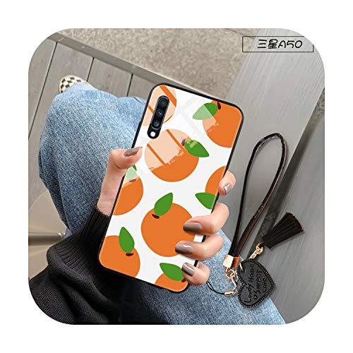 Funda para Samsung Galaxy A10 A20 e A30 A80 A90 A5 A7 A8 J5 J4 2017 2018 A21 A51 A81 S11 Plus Lite Frutas Cubierta de vidrio templado -Naranja Blanco-Para S11 e