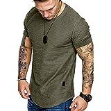 Fashion Mens T Shirt Muscle Gym Workout Athletic Shirt Cotton Tee Shirt Top Green