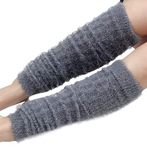 UJUNAOR Damen Gestrickte Thermische Leggings Socken Winter Dicke Kniestrümpfe Beinärmel(Grau,One Size)