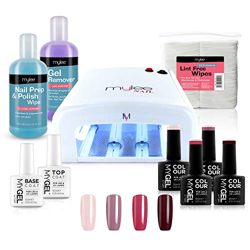 Nail Gel Polish Kit 4 MYGEL Colours Top Base Coat UV Lamp Starter Kit Mylee prep + wipe remover (Kit...