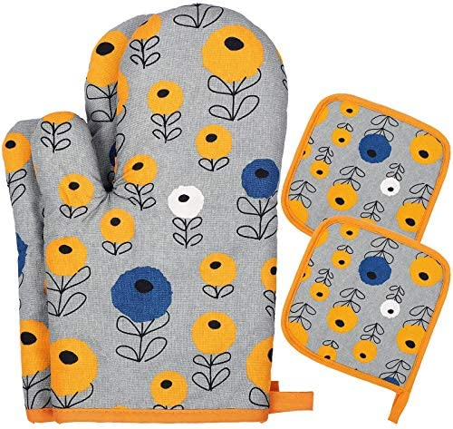 PAIVSUN Cotton Oven Mitts and Pot Holders for Kitchen Heat Resistant Cute Cooking Gloves Funny product image