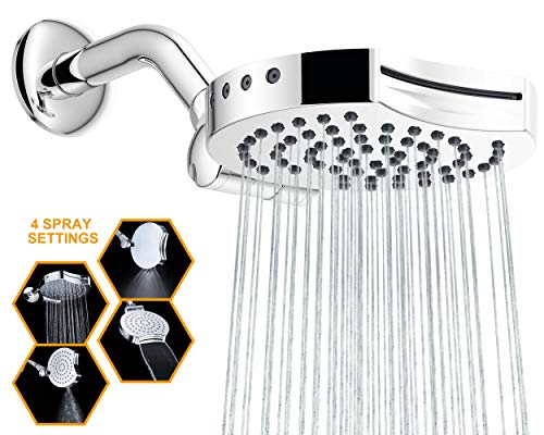 Suptaps 6' Inch High Pressure 4-Settings Rain Shower Head, Fixed Chrome Showerhead - Wall Mount Adjustable 360 Degrees Direction with Easy Installation