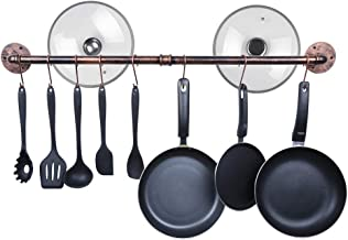 OROPY 39 inch Industrial Pot Rack Wall Mounted Pans Lids Utensils Hanger Iron Detachable Hanging Rail with 14 S Hooks (Copper Color)