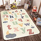 SHACOS Babymatte Spielmatte Faltbar Baby Teppich Baumwolle Beige Krabbelunterlage Buchstaben Spielteppich Waschbar rutschfest Kinderteppich Groß Bunt für Mädchen, Junge, Babyzimmer 120x160cm
