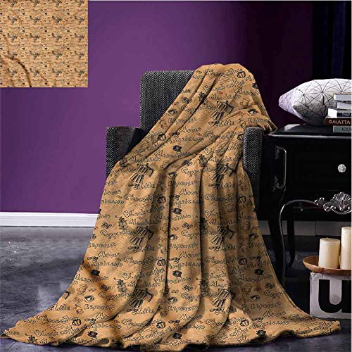 Mannwarehouse Coffee Comfortable Blankets Flannel Throw Blanket Grinder with Coffee Cups Super Soft Reversible for Couch Sofa Bed Beach Travel W63 xL63