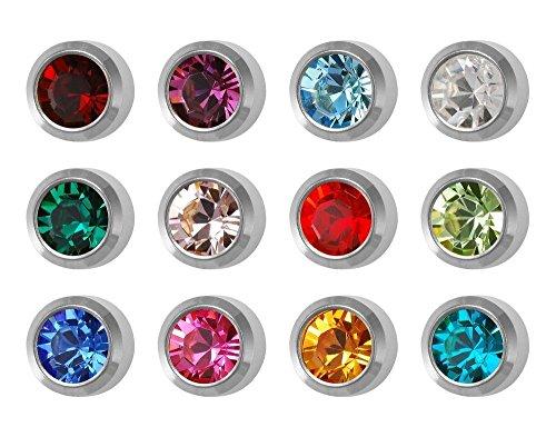 12 Paires Studex Pierres De Naissance Grand 5mm En Acier Inoxydable Lunette Réglage Oreille Piercing Boucles D'oreilles