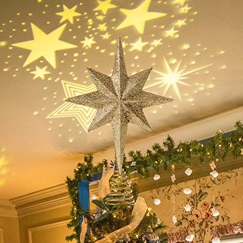 PHITRIC Christmas Star Tree Topper, Gold Christmas Tree Star Lighted Star Tree Topper with Star Projector Lights Xmas Tree Topper for Christmas Tree Decorations