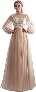 Women Illusion Bateau Neck Long Sleeve A-Line Prom Dress