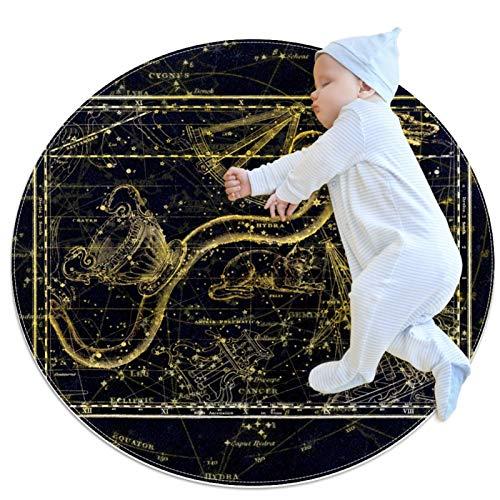 Zodiac Constellation Magic Dragon Cat, Doormat Indoor Decorative Rubber Mat, 31.5 x 31.5 Inch Rug