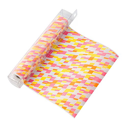 ミドリ包装紙Chottoラップグラシン菱形柄ピンク黄色23369006