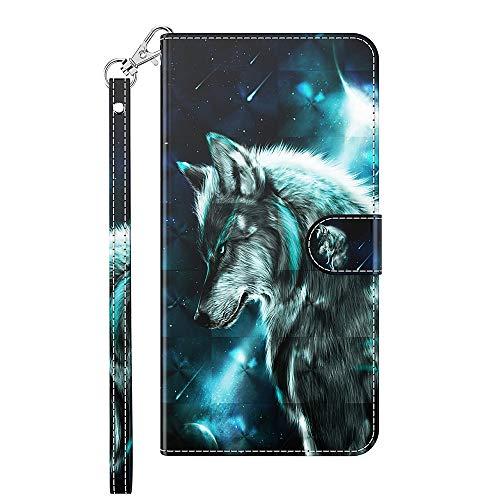 Capa carteira XYX para Motorola Moto G9 Play, capa carteira flip colorida de couro PU com compartimentos para cartão e alça de pulso, lobo selvagem