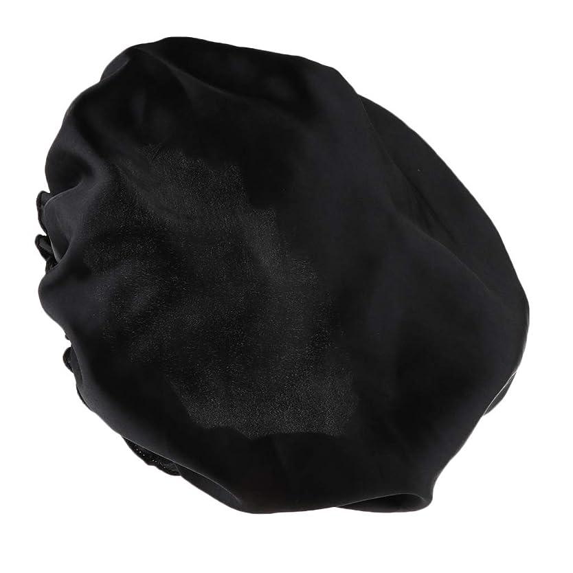 ズーム自殺反射FLAMEER シャワーキャップ シルクサテンキャップ シルクサテン帽子 美容ヘッドカバー 浴用帽子 全8色 - ブラック