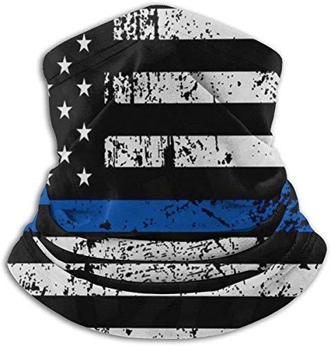 Azalea Store - Fina línea azul con bandera de la policía estadounidense, braga de cuello, pasamontañas, cubierta de esquí frío, gorra de invierno para hombre y mujer