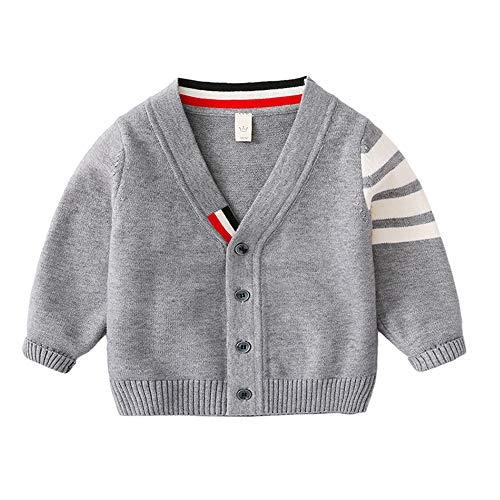 Lazzon Jungen Strickjacke Kinder Pullover V-Ausschnitt Langarm Strickpullover Cardigan Mädchen Kinderjacke 86-128