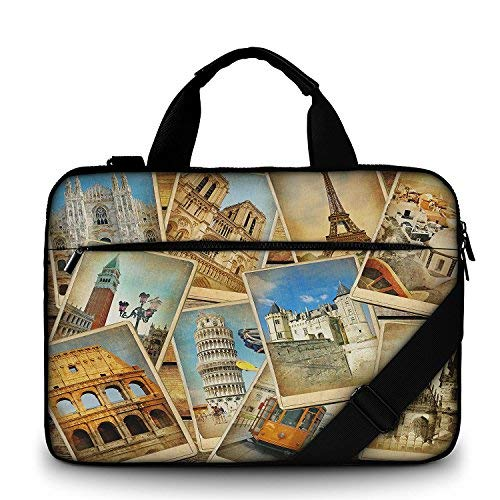 Moderne notebooktas van canvas, stevige laptoptas met handvat, riem met ritssluiting, waterafstotende laptoptas met accessoires, multicolor van Funky Planet Bags Cases 47 x 34 x 3, 44 x 31 x 2 vintage travel