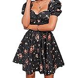 LJLLINGB Blumendruck Weißes Kleid Damen Kurzer Puffärmel Reißverschluss Mini Sommerkleid Elegantes Sommerkleid Damenbekleidung