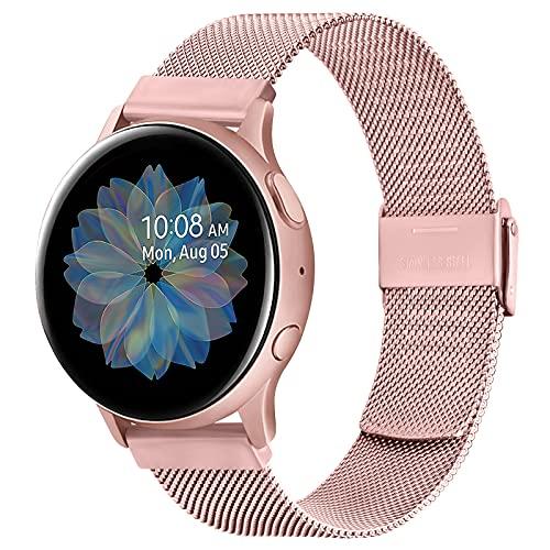 Gaoren Armband Kompatibel mit Samsung Galaxy Watch Active 2 40mm 44mm/Galaxy Watch Active/Galaxy Watch 3 41mm/Galaxy Watch 42mm Armband, 20mm Edelstahl Metall Uhrenarmband für Galaxy Watch Active 2