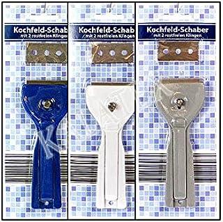 2 Glasschaber mit 6 Metallklingen und 6 Kunststoffklingen zum Entfernen von Etikettenaufklebern Cuchilla Vitroceramica Elinala Rasqueta Vitroceramica Glas und Keramik. Farben