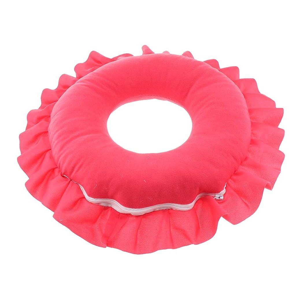 所得却下する先chiwanji 全4色 丸型 マッサージ枕 うつぶせ枕 顔枕 首枕 美容院 ビューティーサロン 柔らかい 快適 - 赤