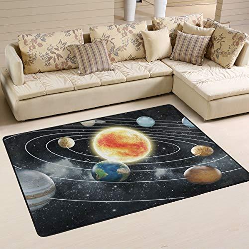 MNSRUU Teppich, Weltraum-Planeten-Solarsystem, Galaxie, Sonne, Mond, Erde, Textil, multi, 91cm x 61cm(3 x 2 feet)