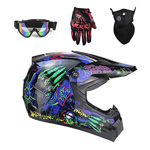 Tadyy Motocross Helmet Adult, DOT Approved Youth Dirt Bike Street Motorcycle Mountain 4 Wheeler Downhill ATV BMX MX Downhill Off Road Motorbike MTB Helmet for Men Women,Gloss,M