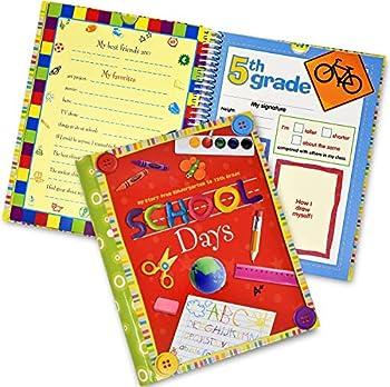 School Memory Book Album Keepsake Scrapbook Photo Kids Memories from Preschool Through 12th Grade with Pockets for Storage Portfolio + Bonus 12 Slots to Paste Pictures - of School Pictures Grad etc.