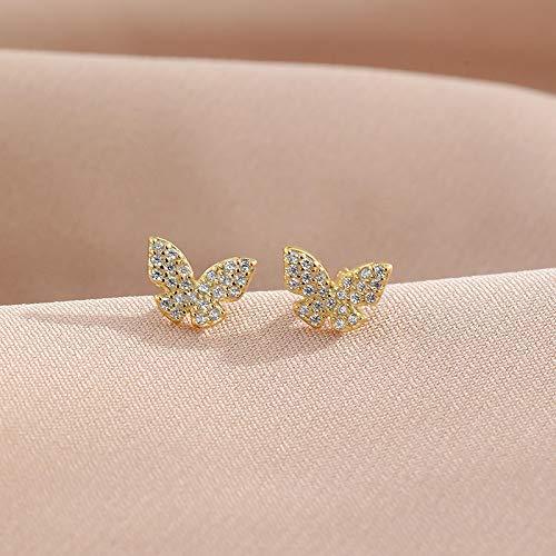 N/A Pendientes de Plata de Ley 925 Pendientes de Mariposa Surtidos Mini Pendientes pequeños y Bonitos Pendientes de Plata para Mujer Hermosa 1 par