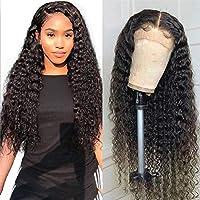緩い長い巻き毛グルーレスレースフロントウィッグ、黒人女性の13x4レースフロントウィッグと赤ちゃんの髪耐熱繊維人毛ウィッグ,26 inches