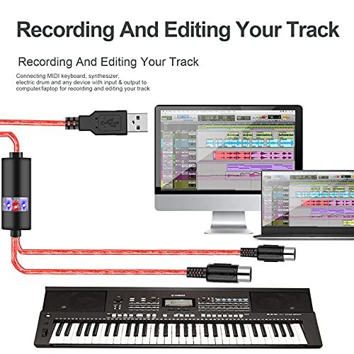 Oibtech - Cable de interfaz USB MIDI a USB de entrada y salida para PC/Mac/portátil, de 2 m, Cable MIDI Rojo