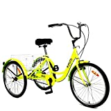 Adult Tricycle Trikes,26 Inch Single Speed 3 Wheel Bikes,Yellow Cruiser Bicycle with Large Shopping Basket for Seniors,Women and Men