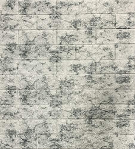 3D Tapete Wandpaneele Selbstklebend Ziegelstein Wasserdicht Wandaufkleber Tapete Wandpaneele selbstklebend Moderne Wandverkleidung in Steinoptik schnelle & leichte Montage (5 Stück, Grau Marmor)
