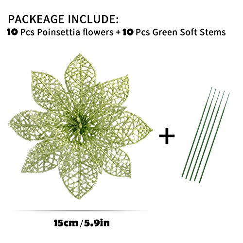 Christmas Tree Flowers Glitter Poinsettia Decorative Artificial Poinsettia Flowers Christmas Tree Ornaments Clearance for Wedding Christmas Party Festival Decoration (10 Pieces Green )