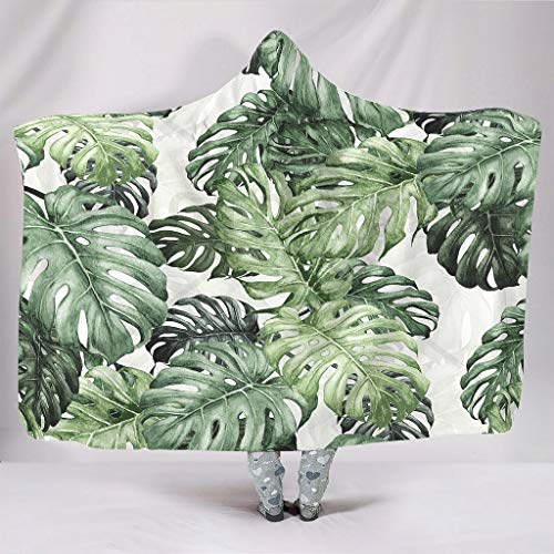 Manta suave con capucha, acuarela, verde, hojas tropicales, pintura, sin costuras, jungla, monstruo, hojas, arte, flores hawaianas, plantas, selva de lluvia, invierno, serpa, divertida., blanco, para Galaxy S3