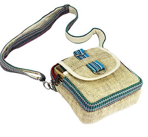 Furein Bolso Bandolera Riñonera Multifuncional de Tela Hecha a Mano, Bolso Cinturon Diseño Étnico Casual con Correa Ajustable (Beige Raya)
