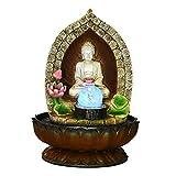 Zimmerbrunnen Buddha-Brunnen - 13 Zoll Buddha Tabletop Brunnen for Home & Office Dekoration, dekorative Skulptur mit LED-Licht & rotierenden Ball for viel Glück zu halten Springbrunnen Gartenbrunnen