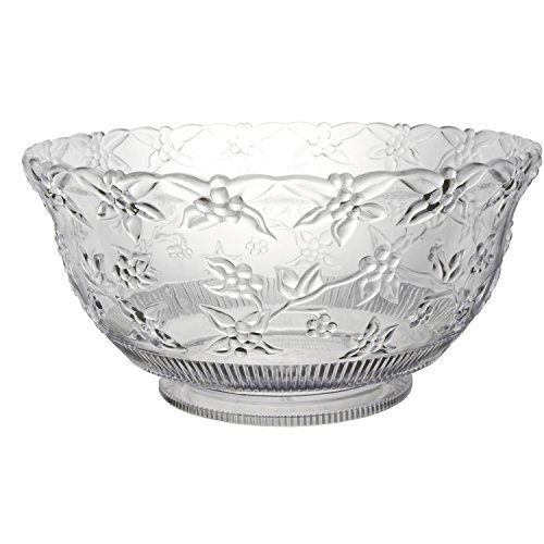 Party Essentials Hard Plastic 12-Quart Embossed Punch Bowl, Clear