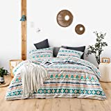SUSYBAO 3 Piece Duvet Cover Set 100% Cotton Queen Size Multi-Colored Bohemian Bedding Set 1 Aztec Geometric Print Duvet Cover with Zipper Ties 2 Pillowcases Luxury Quality Soft Comfortable Durable